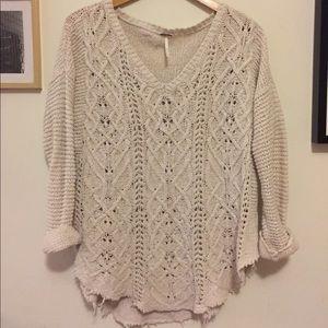 Free People oversized- cream knit sweater